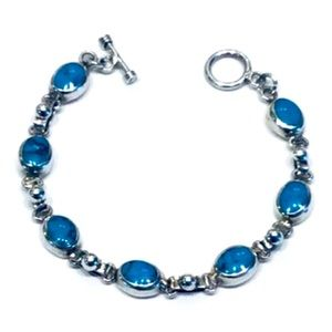 """925 SILVER AND TURQUOISE TOGGLE BRACELET SIZE 7.2"""""""